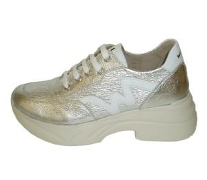 Zapato mujer combina piel plata/blanco cordones