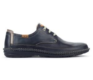 Zapato Santiago hombre piel blue cordones