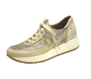 Zapato casual mujer piel hueso/metal cordones