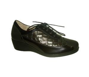 Zapato casual mujer piel combinada negro/coco cordones