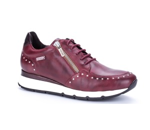 Zapato Mundaka piel garnet cordones