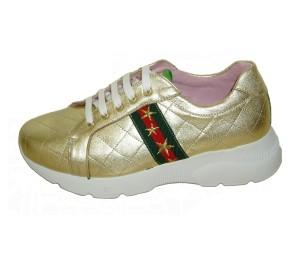 Zapato urbano mujer piel platino cordones, adorno cinta de Gucci