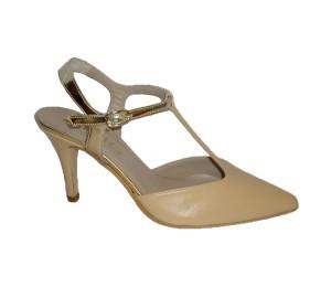 Zapato chanelita mujer beige platino tacón