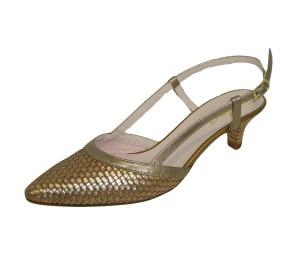 Zapato chanelita mujer piel trenzada bronce