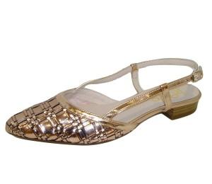 Zapato chanelita mujer piel trenzada dorado rose