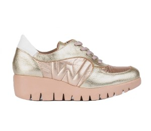 Zapato casual mujer piel combinada platino/metal