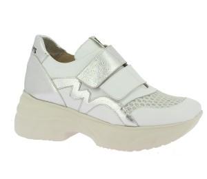 Zapato deportivo mujer piel blanco/glitter velcros