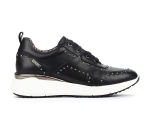Zapato Sella mujer piel negro cordones tachas