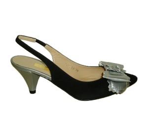 Zapato destalonado mujer ante negro combinado acero