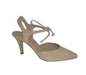 Zapato puntero mujer ante nude cordón