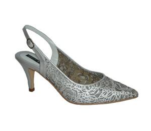 Zapato chanelita mujer piel rejilla plata