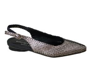 Zapato destalonado mujer piel trenzado combinado acero/negro