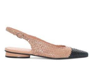 Zapato destalonado mujer piel trenzado combinado