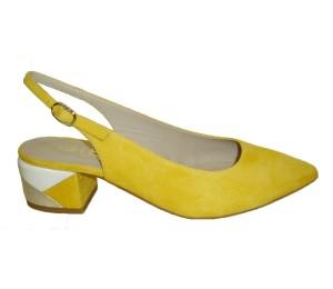 Destalonado mujer ante amarillo tacón multicolor