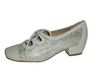 Zapato gales mujer piel combinado hueso/gris-plata