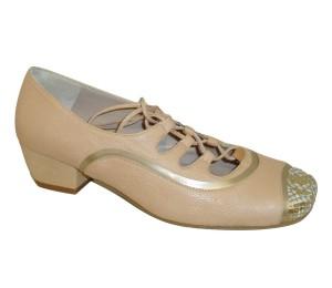 Zapato gales mujer piel combinada oro/beige cordón