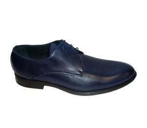 Zapato hombre piel lavatto indico cordones