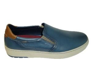 Zapato hombre mocasín piel azul piso casco plantilla extraible