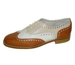 Zapato mujer cordones combina piel cuero pala vega plano