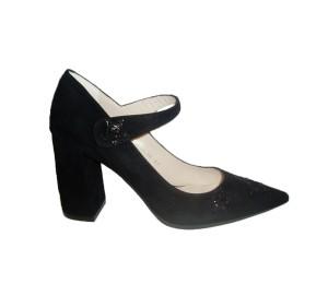 Zapato merceditas mujer ante negro adorno glitter