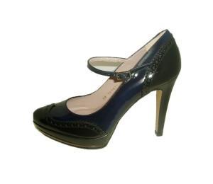 Zapato merceditas mujer antik negro/baltico tacón