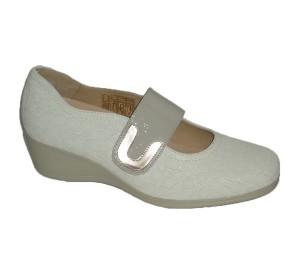 Zapato merceditas mujer piel coco blanco roto
