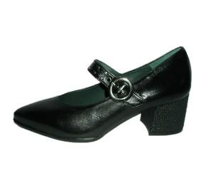 Zapato merceditas mujer piel tequila negro