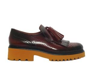 Zapato mocasín mujer piel nepal toffe borlas/flecos