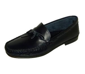 Zapato mocasín hombre piel bufalo marino lazo