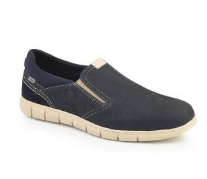 Zapato pala alta piel kenia marino