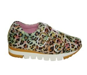Zapato de estilo contemporáneo de mujer en piel animal print multicolor hebillas