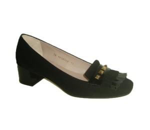 Zapato mujer ante/charol negro flecos