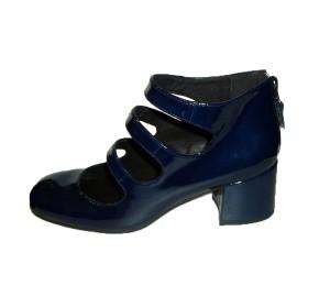 Zapato abotinado abierto mujer charol marino cremallera talón