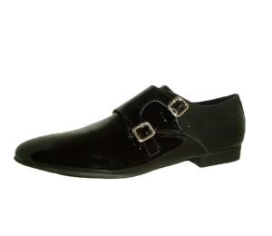 Zapato mujer charol negro dos hebillas