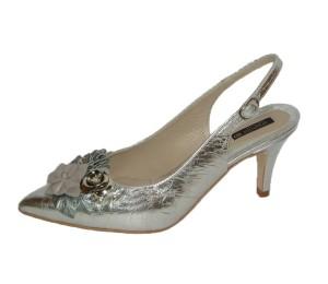 Zapato chanelita mujer piel plata/acero