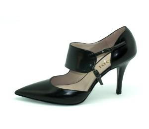 Zapato mujer piel seda negro trabilla