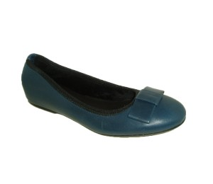 Zapato mujer piel azul lazo zapatero