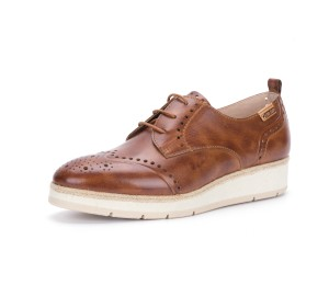 Zapato mujer piel brandy cordones