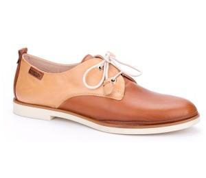 Zapato Santorini mujer en piel brandy cordones