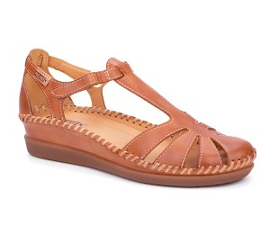 Cadaques zapato mujer piel brandy puntera y talón cerrado
