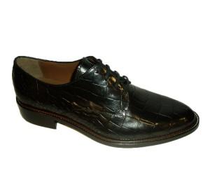 Zapato blucher mujer piel coco negra