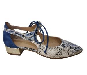 Zapato mujer piel pitón blue cordones