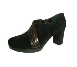 Zapato mujer afelpado negro tacón