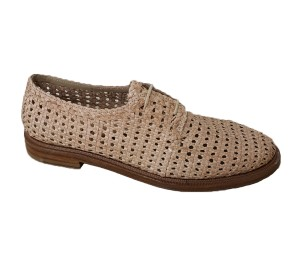 Zapato plano mujer piel trenzado ivory cordones