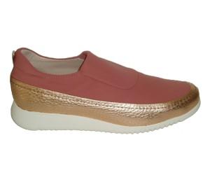 Zapato mujer de última generación en piel y licra color salmón con piso Confrot Light