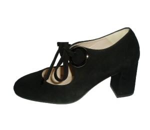 Zapato angelito mujer ante negro tacón