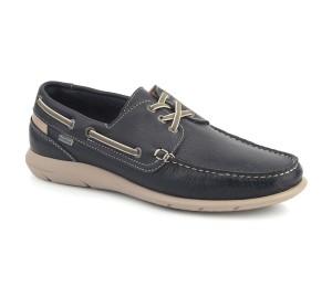 Zapato náutico hombre piel kent marino piso stone cordones elásticos