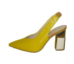 Zapato destalonado mujer piel california limón tacón grueso