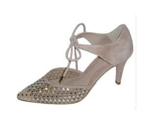 Zapato mujer ante nude metalizado plata
