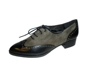 Zapato mujer combina piel/ante negro cordones